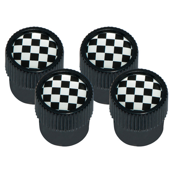 Tyre Valve Cap Cover Set Chequered Flag  with Black Outer Set of 4 - DA1437