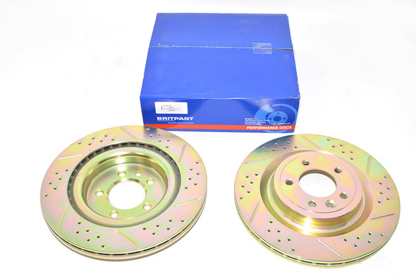 Land Rover Discovery 5 L462 Drilled and Grooved Performance Upgrade Rear Brake Discs - DA4687
