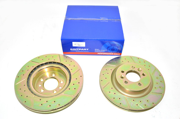 Land Rover Discovery 5 L462 Drilled and Grooved Performance Upgrade Front Brake Discs - DA4685