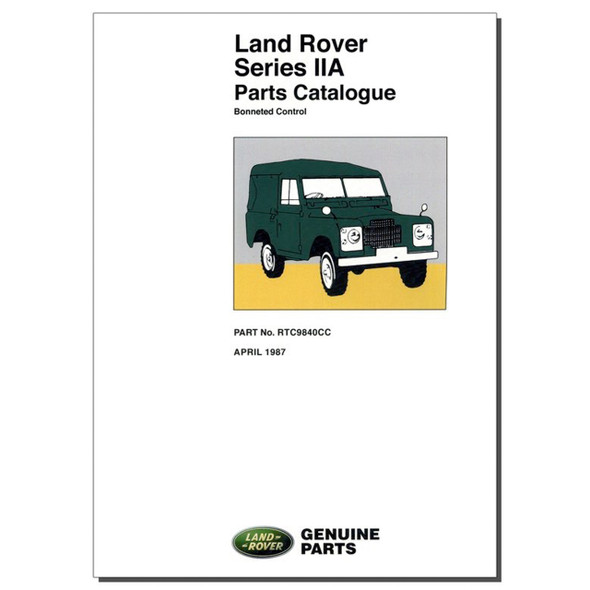 Series 2A Bonneted Control Parts Catalogue Brooklands - RTC9840CC