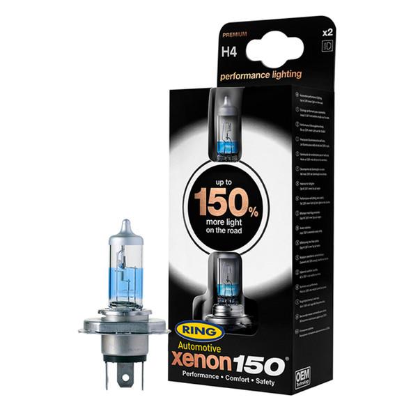 H4 Xenon Performance 150 Halogen Headlamp Bulb Pair Ring - DA5016-150