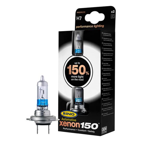 H7 Xenon Performance 150 Halogen Headlamp Bulb Pair Ring - DA5024-150