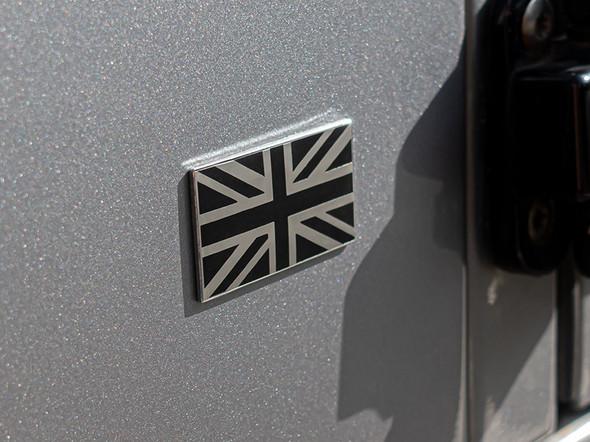 Self adhesive black & chrome Union Jack badge - DA7637