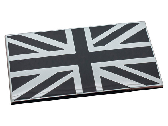 JGS4x4|Self adhesive black & chrome Union Jack badge - DA7637