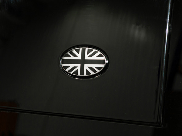 Black and Chrome Self-Adhesive Union Jack Oval Badge