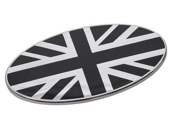 JGS4x4 | Black and Chrome Self-Adhesive Union Jack Oval Badge - DA7638
