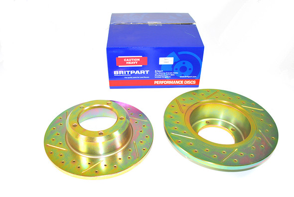 Land Rover Range Rover Classic Drilled and Grooved Performance Upgrade Front Brake Discs - DA4600