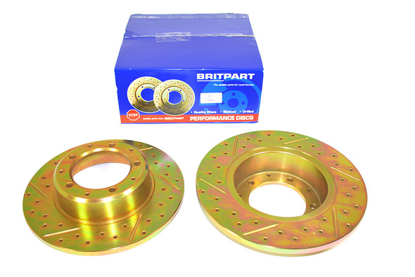 Land Rover Range Rover Classic Drilled and Grooved Performance Upgrade Rear Brake Discs - DA4601