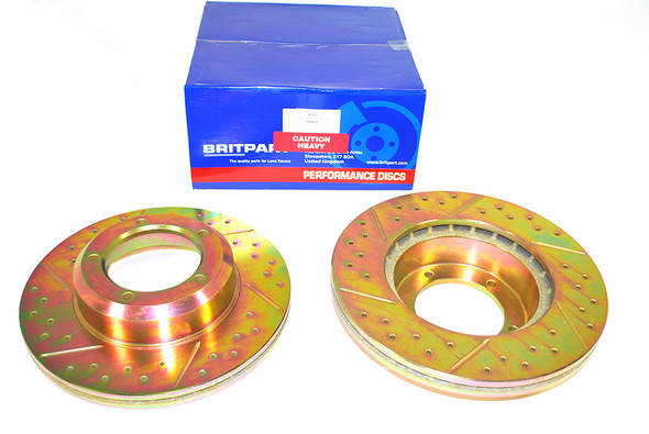 Land Rover Range Rover Classic Drilled and Grooved Performance Upgrade Front Brake Discs - DA4602
