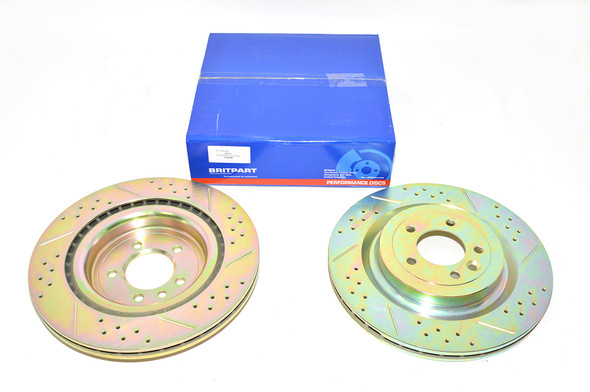 Land Rover Range Rover Sport L494 Drilled and Grooved Performance Upgrade Rear Brake Discs - DA4686