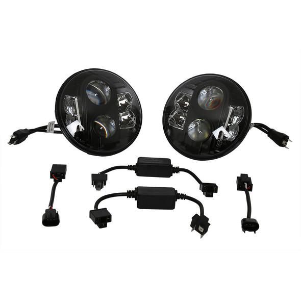 Land Rover Defender Black LED Headlamp Light Pair RHD - BA070LEDB