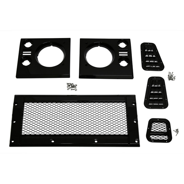 Land Rover Defender Face Lift Grille Kit Gloss Black With Mesh - BA9452