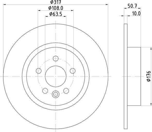 Range Rover Evoque 2.0 Diesel Rear Solid Brake Discs OEM Specification - MDC2852C