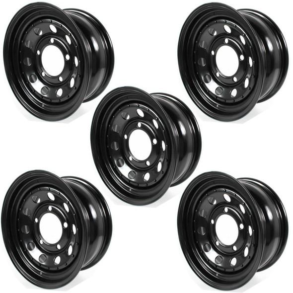 "JGS4x4 | Land Rover Discovery 1 Modular Steel Wheel Black 16""x7"" Set Of Five - GRW006"