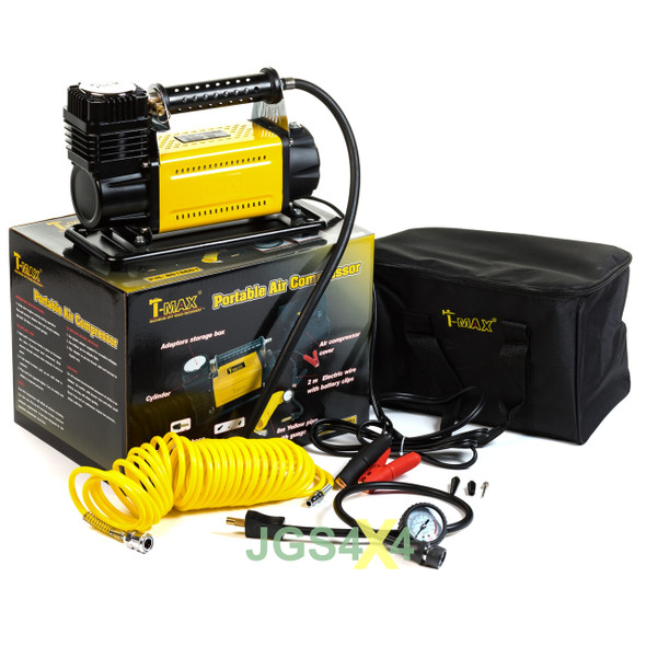 T-MAX 12V Compressor HEAVY DUTY Adventurer 4x4 Tyre Air Pump With Tyre Repair Kit