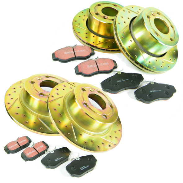 JGS4x4   Land Rover Discovery 2 Performance Drilled & Grooved Brake Disc & EBC Brake Pad Kit -
