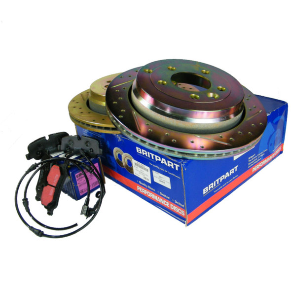 JGS4x4   Land Rover Discovery 3 L319 Performance Drilled and Grooved Front Brake Discs & EBC Brake Pad Kit -