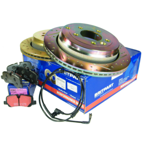 JGS4x4   Land Rover Discovery 3 L319 Performance Drilled and Grooved Rear Brake Discs & EBC Brake Pad Kit -