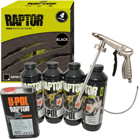 JGS4x4 | UPOL RAPTOR Liner Paint Ultra Tough Urethane Coating BLACK With Spray Gun - RLB/S4