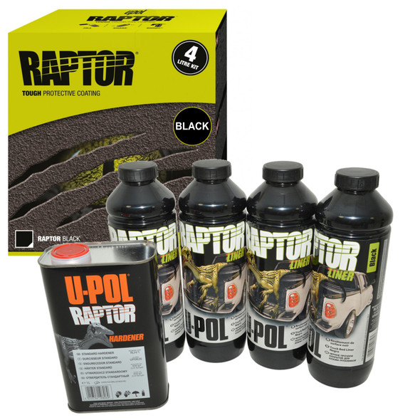 UPOL RAPTOR Liner Paint Ultra Tough Urethane Coating BLACK With Spray Gun - RLB/S4