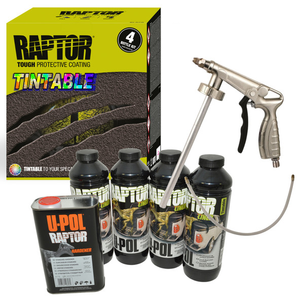 JGS4x4 | UPOL RAPTOR Liner Paint Ultra Tough Truck Bed Coating Seal TINTABLE With Spray Gun RLT/S4