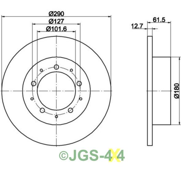 Defender Rear Brake Disc & Pads Kit MINTEX Solid