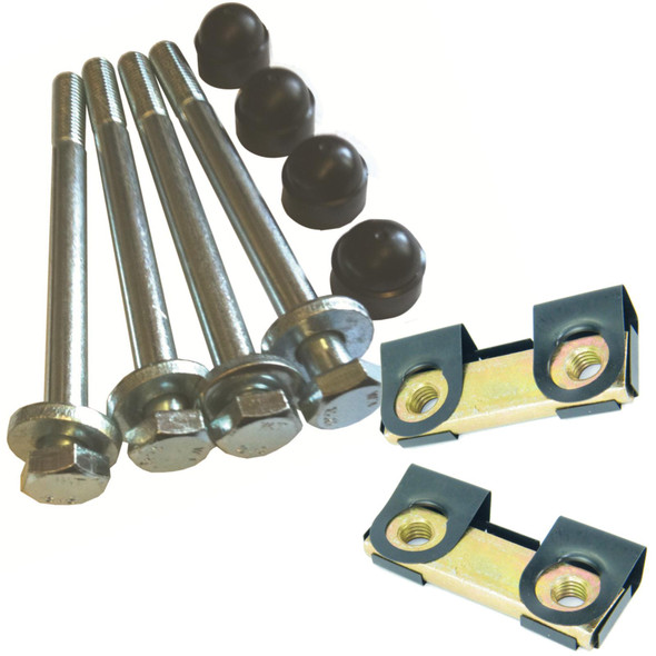 Defender Bumper Fitting Kit Captive Nut Plates With Stainless Steel Bolts & Caps