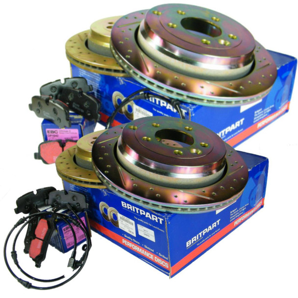 JGS4x4   Land Rover Discovery 4 L319 Performance Drilled and Grooved Brake Disc & EBC Brake Pad Kit -