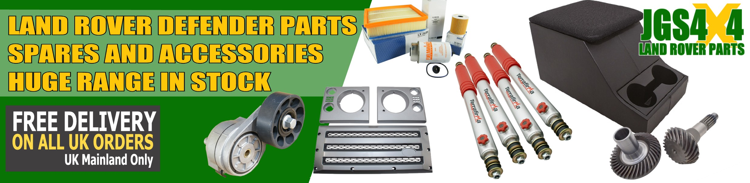 Land Rover Defender spare parts and accessories kept in stock.