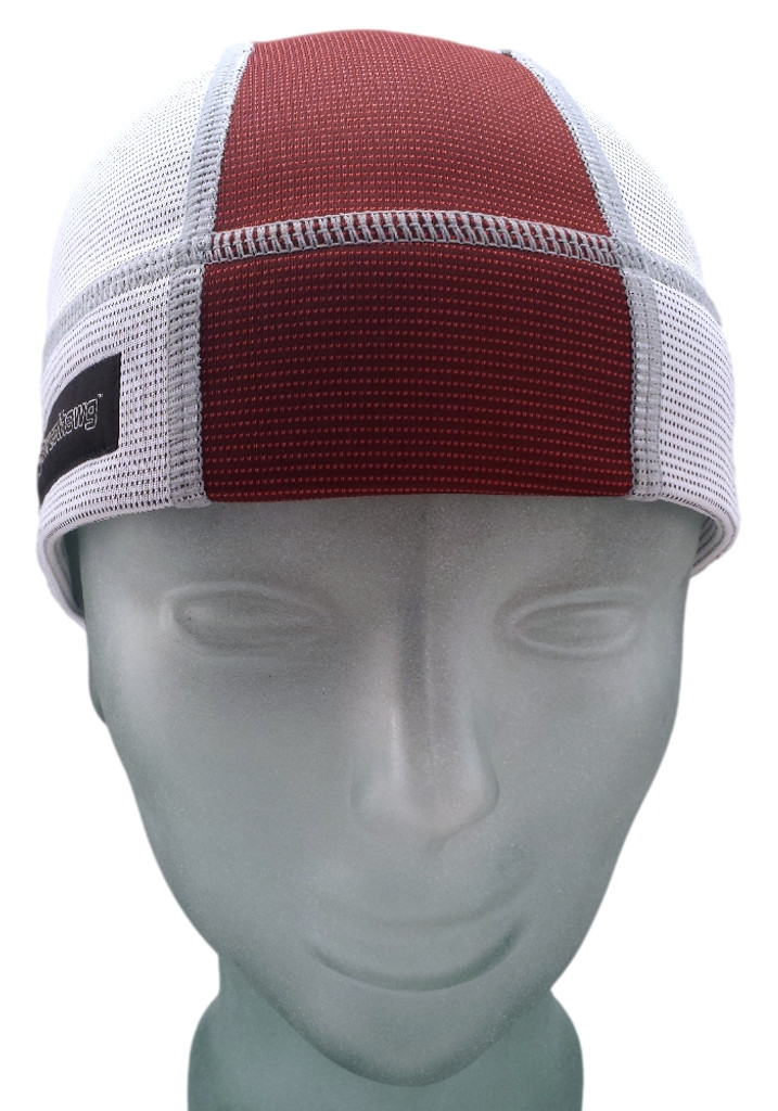 Ash White and Burgundy SweatHawg Skull Cap