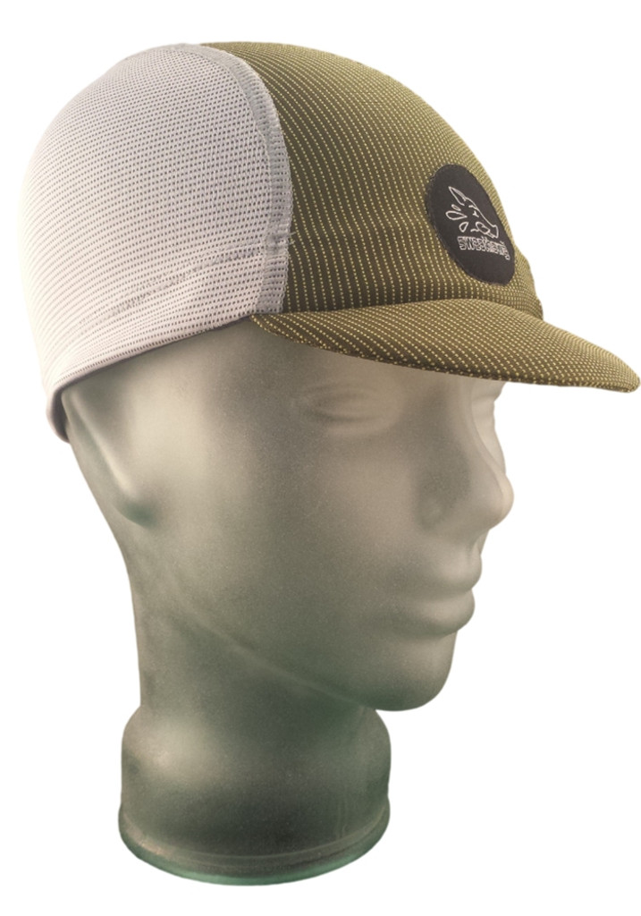 Cycling Cap in Ash White and Olive Green