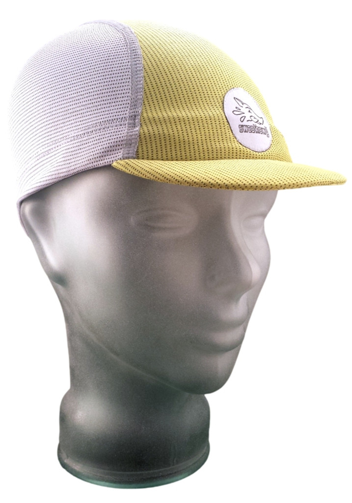 Cycling Cap - Ash White and Lemon Yellow