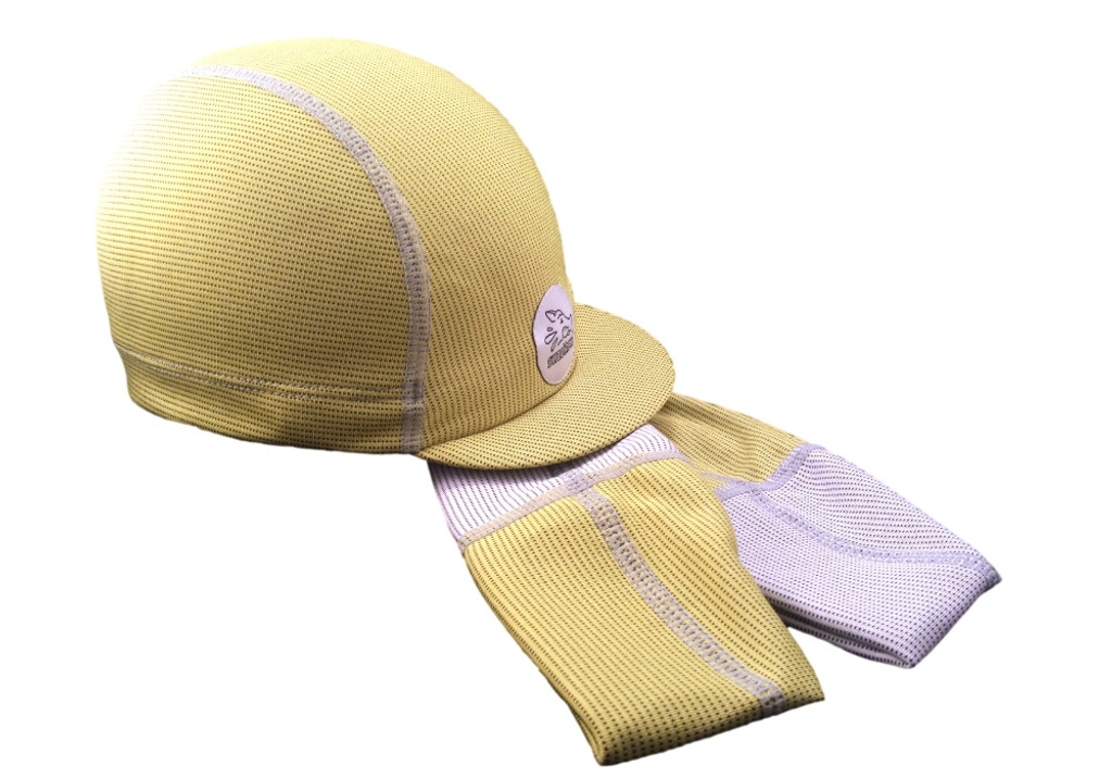 Cycling Caps with an ultra-absorbent brow to stop dripping sweat in Lemon Yellow