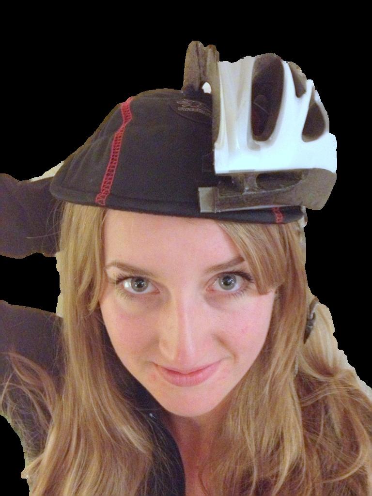 Front view of SweatHawg Helmet Liner under helmet