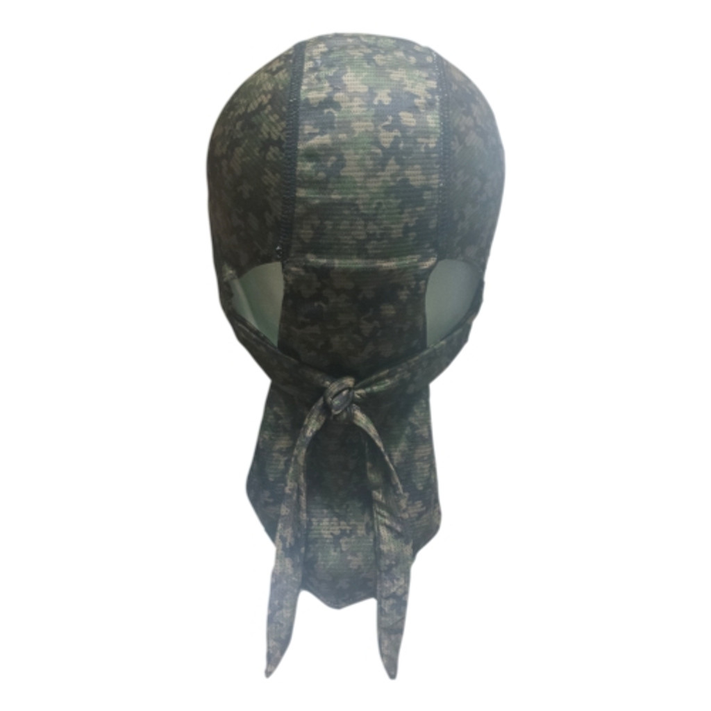 Basically a skull cap with ties.  Do-Rag Skull Cap X2 absorbs twice the sweat of our regular do-rag.