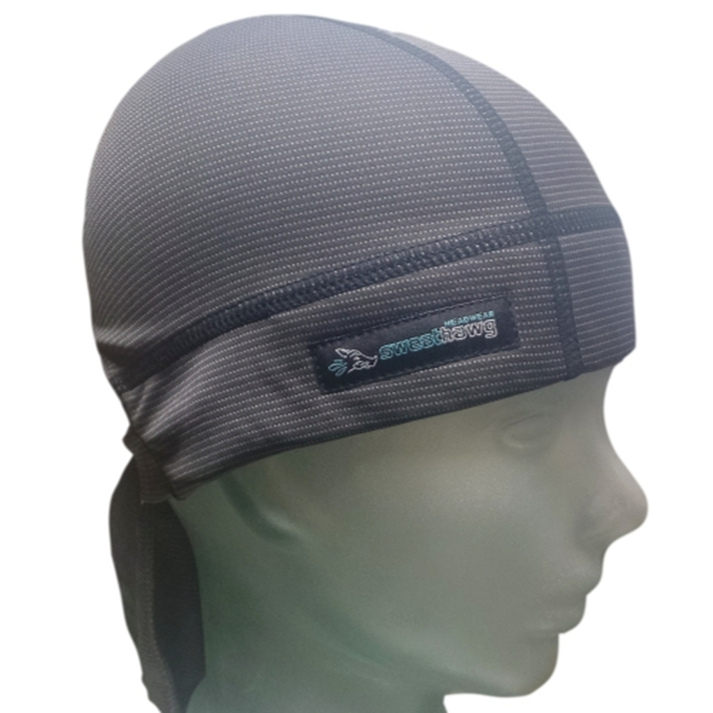 SweatHawg's sweat absorbing Do-Rag Skull Cap X2 with twice the absorbing power.  In charcoal black and camo.