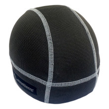 Skull cap in charcoal black with grey stitching.  Absorbent brow with wicking bamboo ultra lightweight fabric keeps sweat from dripping in your eyes.