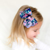Victoria. Toddler or Big Girl Navy Floral Print Hair Bows.