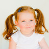 Toddler Barrette Navy White Polka Dots