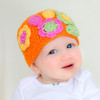 Megan. Orange Crocheted Baby Winter Hat.