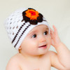 Thea. Crocheted Flower Hat. White and Brown.