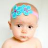 Lulu. Linen Flower Baby or Infant Headbands. Double Flower Headband.