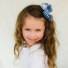 Delaney. Navy Plaid Big Fluffy Hair Bows.
