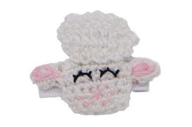 Barbara lamb sheep hair clip, as shown on a bitty clip for babies with fine hair
