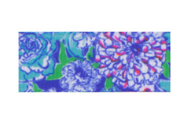 Royal blue, white, and red flowers on emerald green - cute floral hair clippy