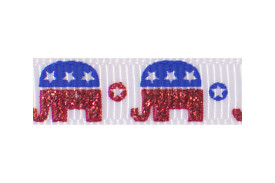 Sparkly royal blue and red elephants on white background
