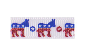 Sparkly royal blue and red donkeys on white ribbon