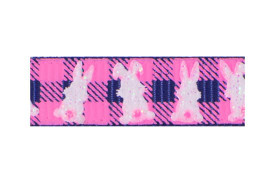 White bunnies on pink and navy plaid background with a hint of shimmer