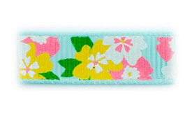 aqua floral printed baby hair clips
