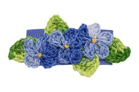 Variegated blues are great for this season, shown on a toddler snap clip
